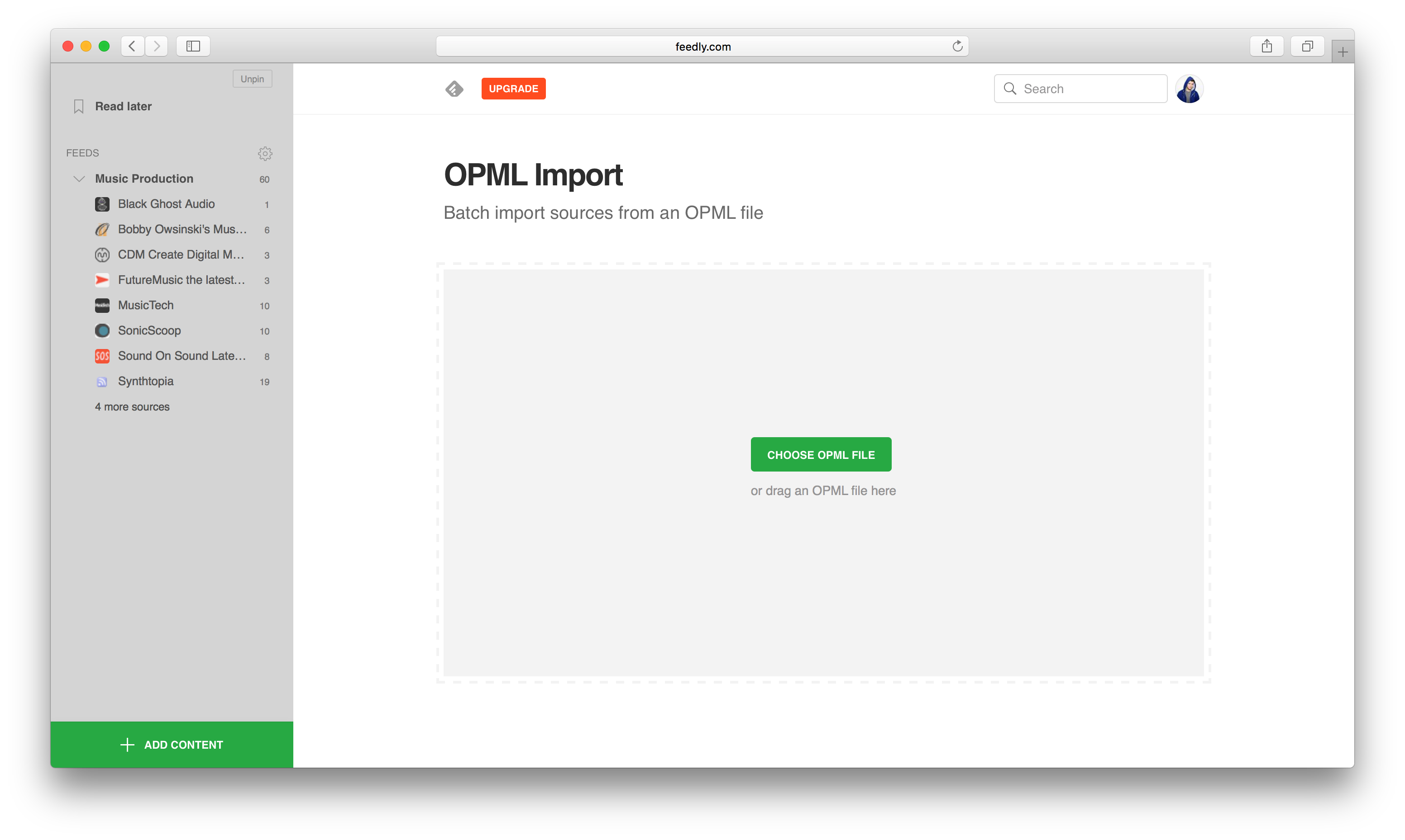 An image of Feedly's OPML Import Page.