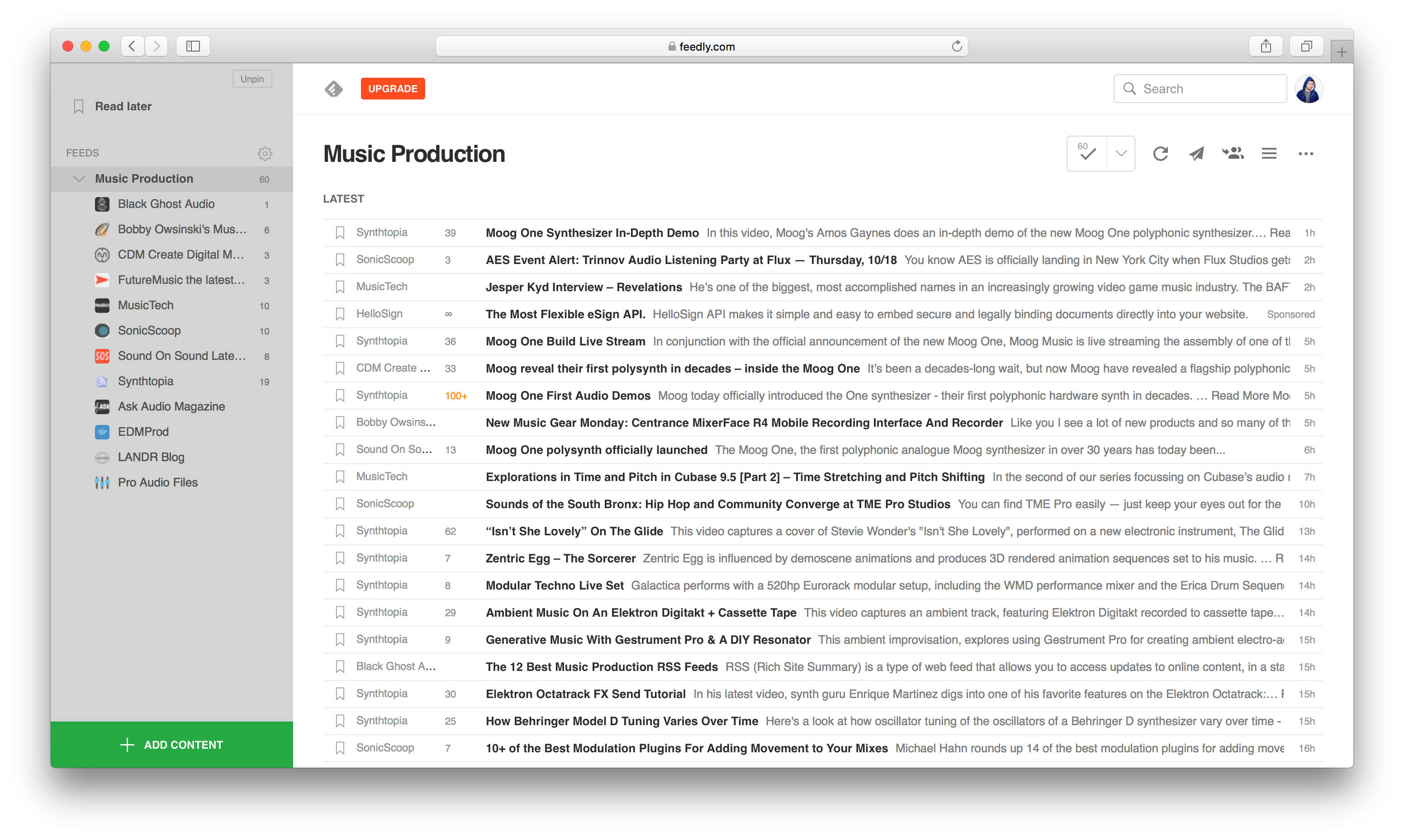 An image of a Music Production feed in Feedly.