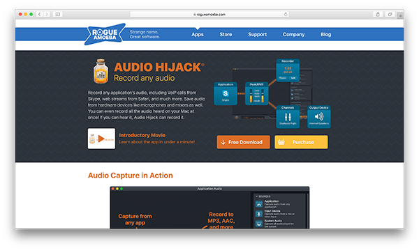 An image of Audio Hijack's homepage.