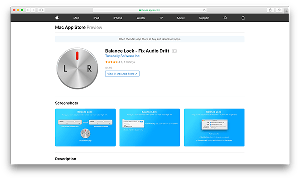 An image of Balance Lock's homepage on the App Store.