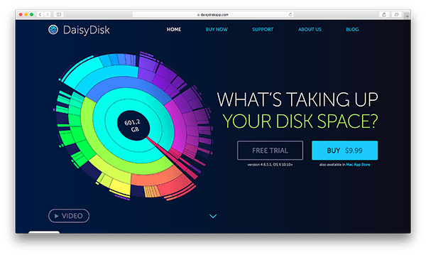An image of DaisyDisk's homepage.