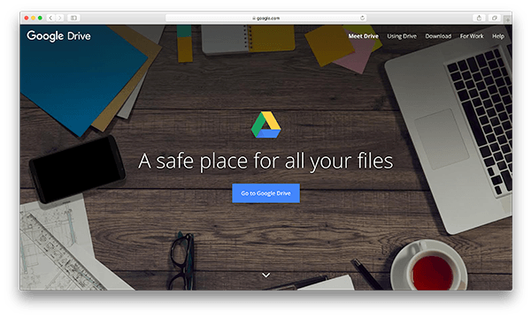 An image of Google Drive's homepage.