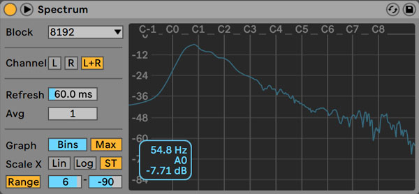 An image of Ableton's Spectrum Analyzer.