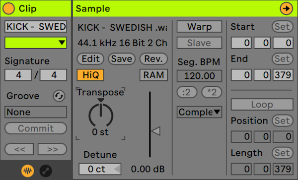An image of Ableton's Audio Clip Editor.
