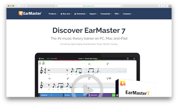 An image of EarMaster 7's homepage.