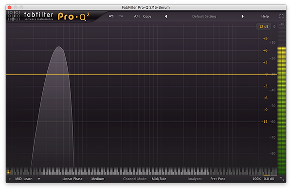 An image of a sine wave run through FabFilter's Pro-Q 2 plugin.