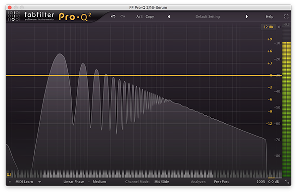 An image of a saw wave run through FabFilter's Pro-Q 2.