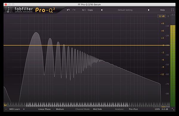 An image of a saw wave run through FabFilter's Pro-Q 2.