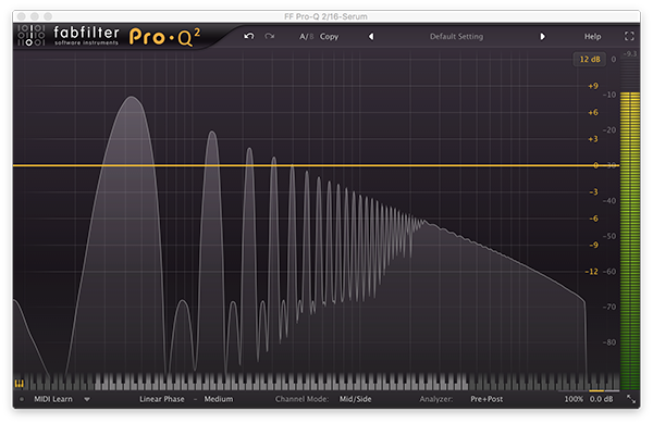 An image of a square wave run through FabFilter's Pro-Q 2.