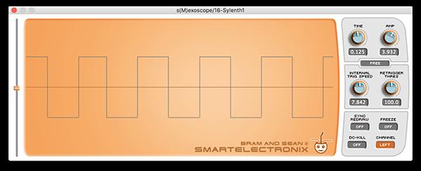 An image of a square wave run through an oscilloscope.