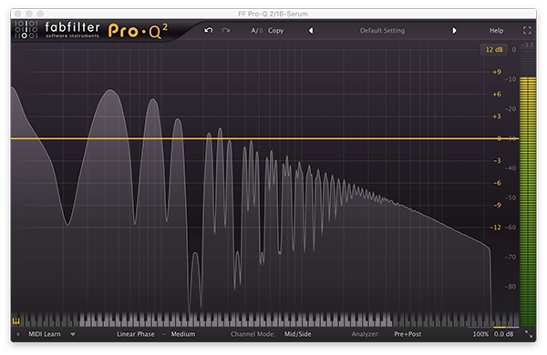 An image of a pulse wave run through FabFilter's Pro-Q 2.