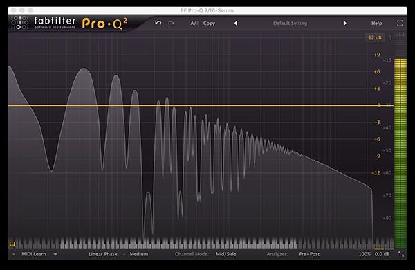 An image of a pulse wave run through FabFilter's Pro-Q 2.