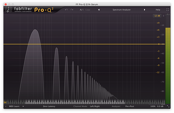 An image of a triangle wave run through FabFilter's Pro-Q 2.