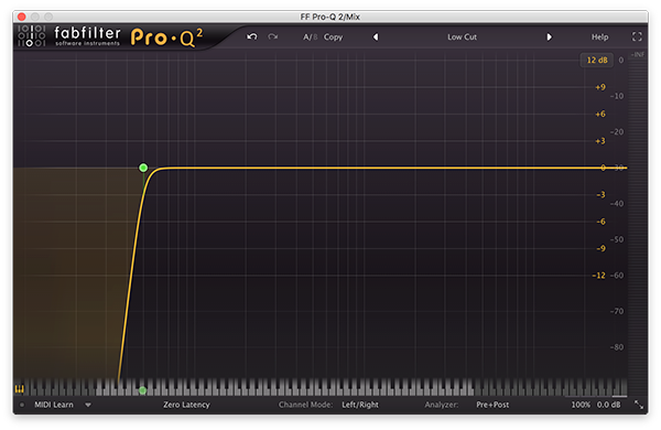 A high-pass filter in FabFilter's Pro-Q 2.