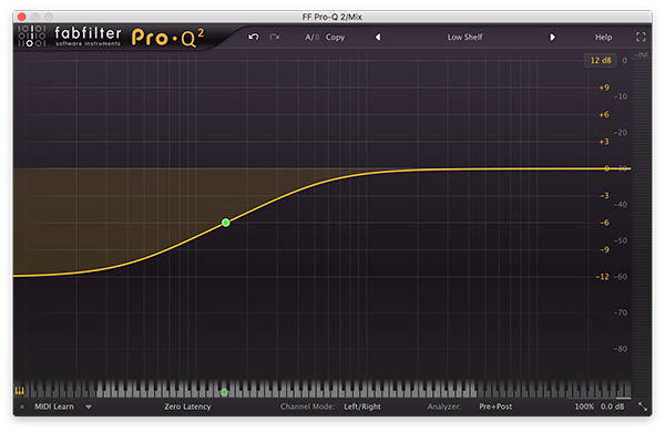 A low shelf filter in FabFilter's Pro-Q 2.