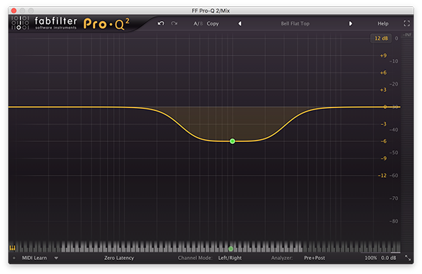 A bell filter in FabFilter's Pro-Q 2.