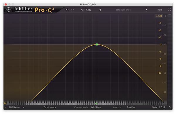A band pass filter in FabFilter's Pro-Q 2.
