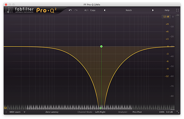 A notch filter in FabFilter's Pro-Q 2.