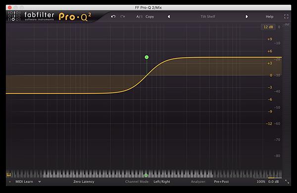 A tilt filter in FabFilter's Pro-Q 2.