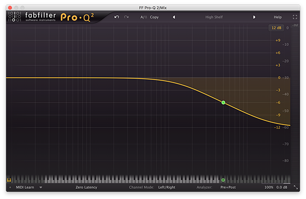 A high shelf filter in FabFilter's Pro-Q 2.