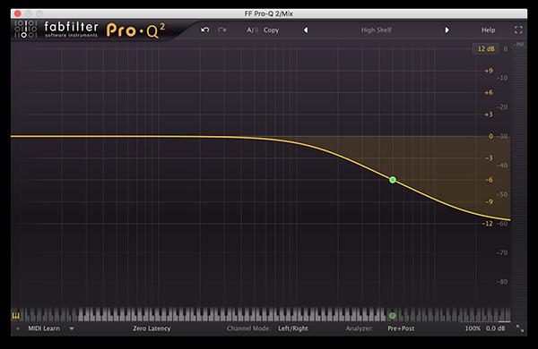 A high shelf filter in FabFilter's Pro-Q 2.