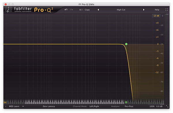 A low pass filter in FabFilter's Pro-Q 2.