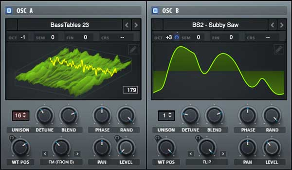 An image of the oscillator section in Xfer Records' Serum plugin.