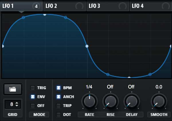The LFO section in Xfer Records' Serum plugin.