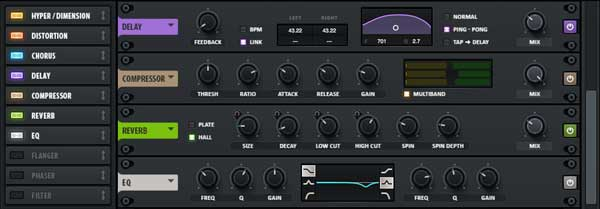 The effects section in Xfer Records' Serum.