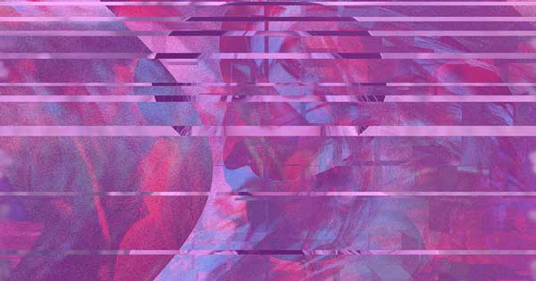 A distorted image with pink tones.