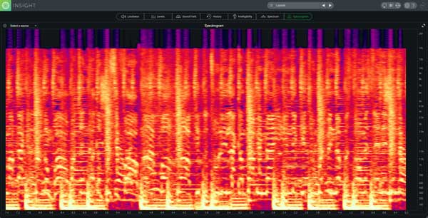 A picture of iZotope Insight 2's 2D Spectrogram.