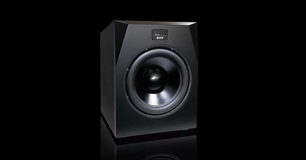 A subwoofer with a black background.