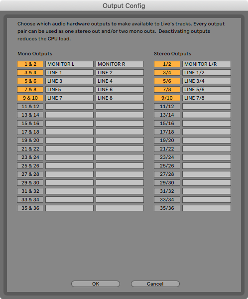 An image of Ableton's Output Configuration menu.