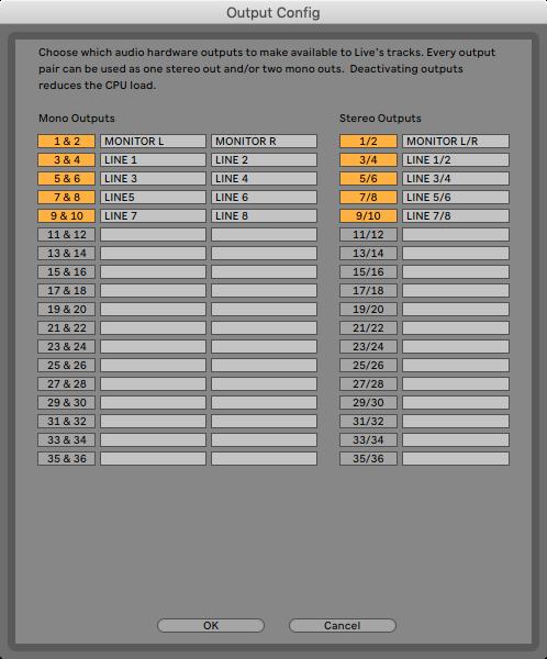 An image of Ableton's Output Configuration menu.