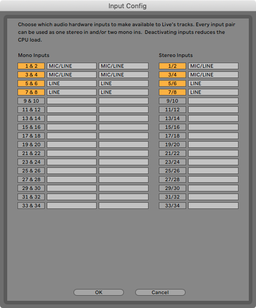 An image of Ableton's Input Configuration menu.
