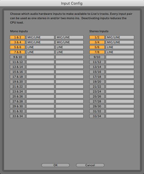An image of Ableton's Input Configuration menu.