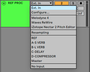An image of Ableton's Input Type dropdown menu.