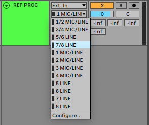 An image of Ableton's Input Channel dropdown menu.