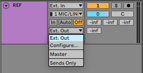 A picture of Ableton's Output Type dropdown menu.