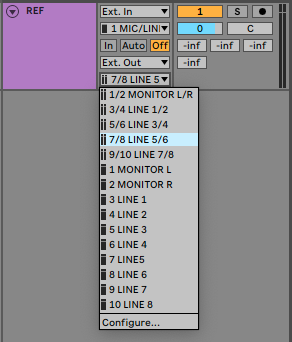 A picture of Ableton's Output Channel dropdown menu.