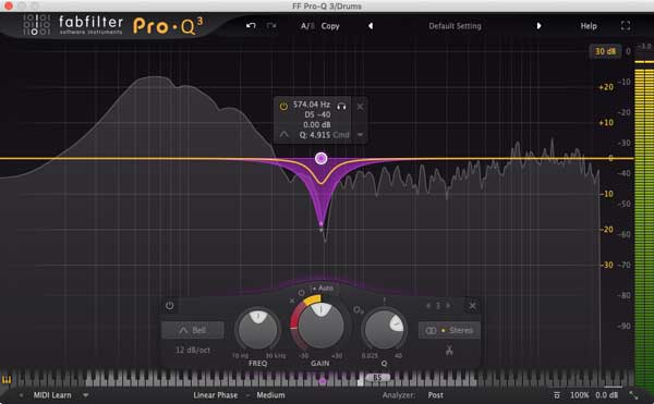 A picture of a dynamic EQ applying attenuation to an audio signal.