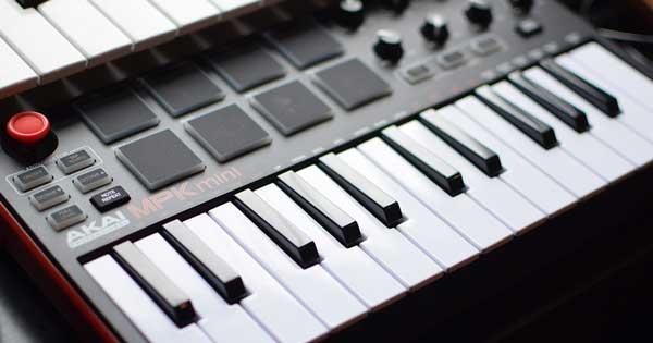 An Akai MPK Mini MIDI keyboard.
