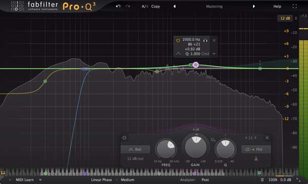 A picture of FabFilter's Pro-Q 3 plugin.