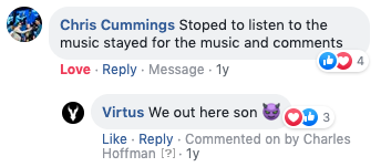 A picture of a comment on the Facebook video for Virtus - Dark Prince Rising.