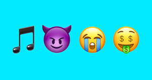 A music icon, devil face icon, crying face icon, and money face icon.