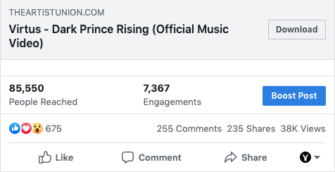 A picture of the engagement stats for Virtus - Dark Prince Rising on Facebook.