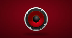 A red speaker driver on a red background.