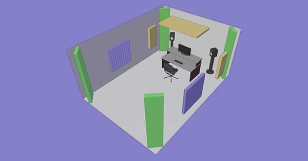 An image of acoustic treatment that's meant to reflect sound and prevent flutter echo.