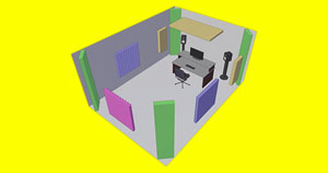 A 3D rendered image of a room with acoustic treatment applied to the walls.