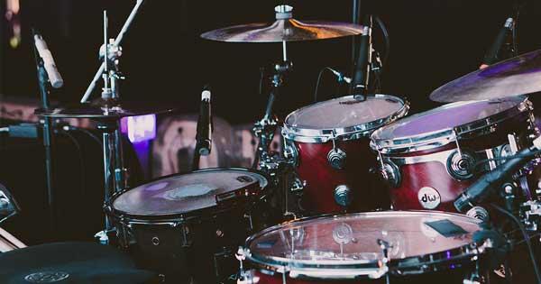 An acoustic drum kit.
